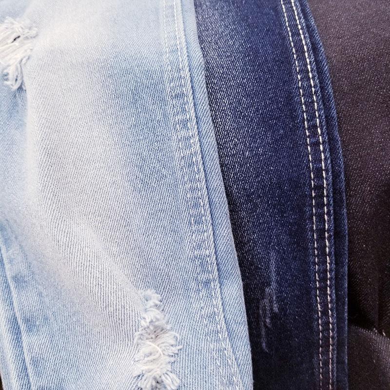 女装全棉无弹牛仔布厂家生产定制_柏比宏纺织品_印花_丝光_深蓝色