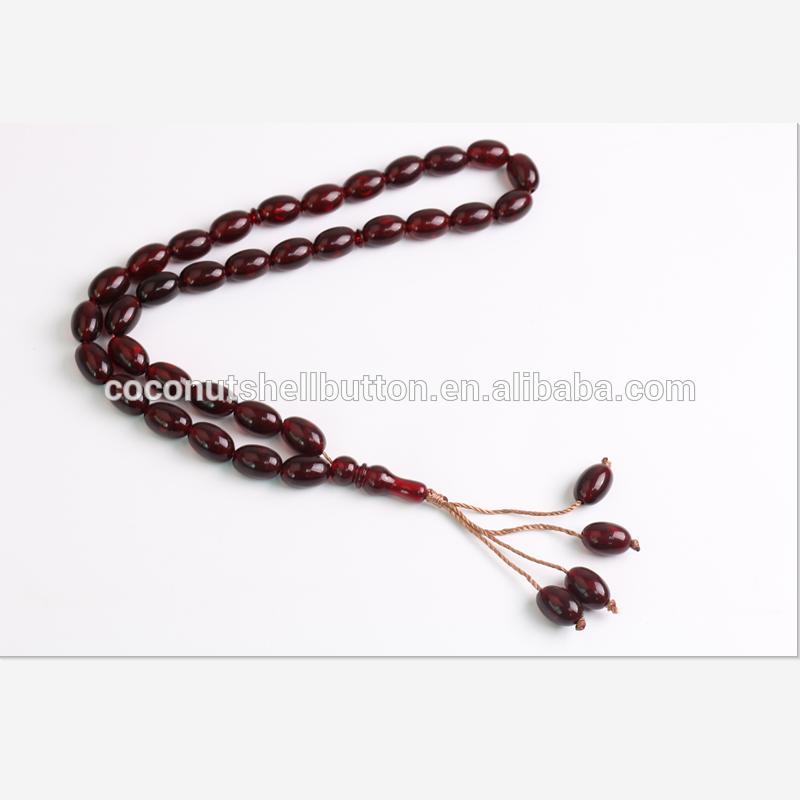 33-Beaded Amber Rosary Muslim ResinTasbih Beads Lightweight Prayer Bracelet Physical&Spiritual Relief