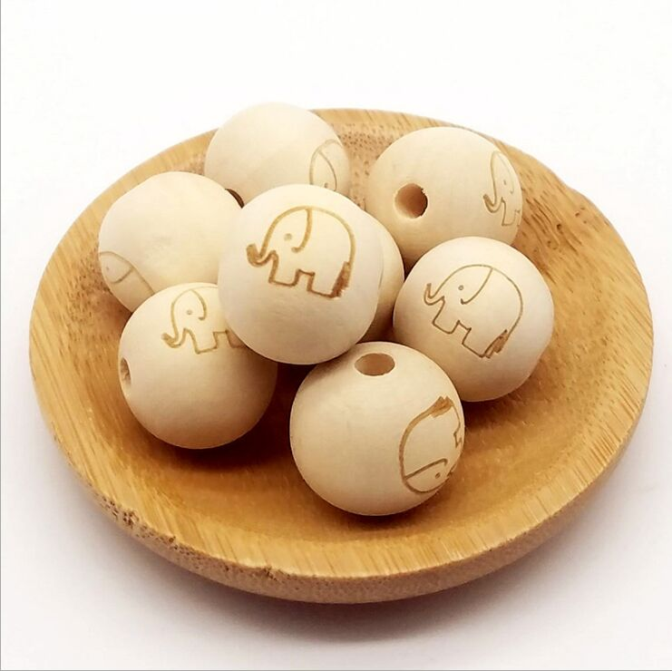 Chinese supplier custom Design custom logo engraved wood jewelry bead