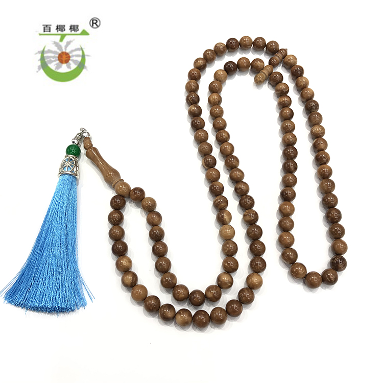 Factory New Style Kuka Teach Muslim Prayer with Tassel Pendant 99 Beaded Islamic Religious Natural Kuka Tasbih Rosary Bracelets