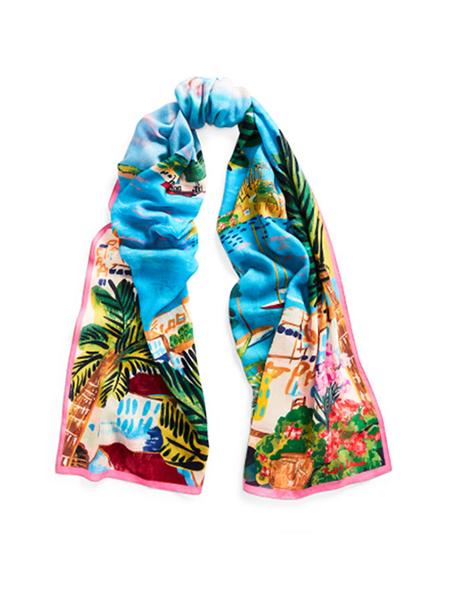 藍色海岸圖案印花圍巾