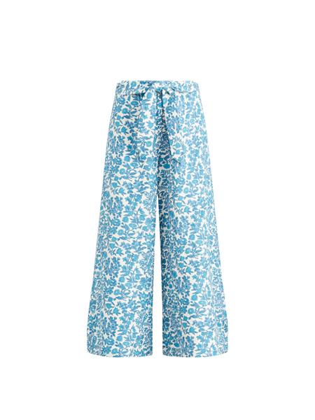 花卉印花阔腿裤