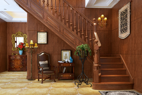 書柜室內裝修價位_鼎尚木業_別墅_歐式復古_歐式復古風格_個性