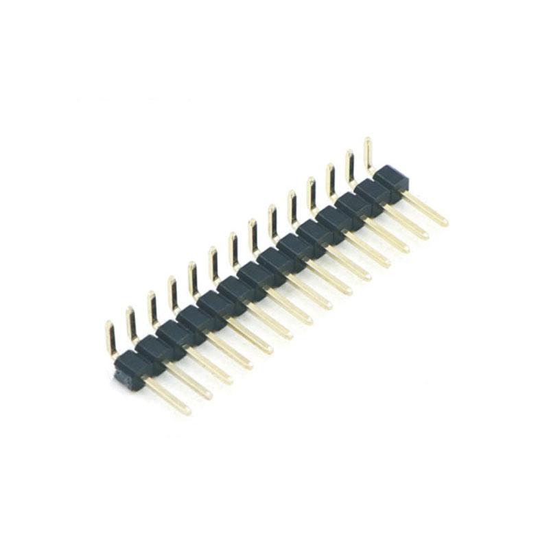 """2.54mm Pitch (.100"""")單排彎插排針連接器"""