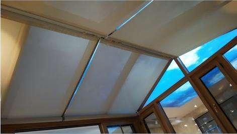 室内天棚帘公司 满满窗饰 手动 别墅 室内折叠式 半遮光 户外