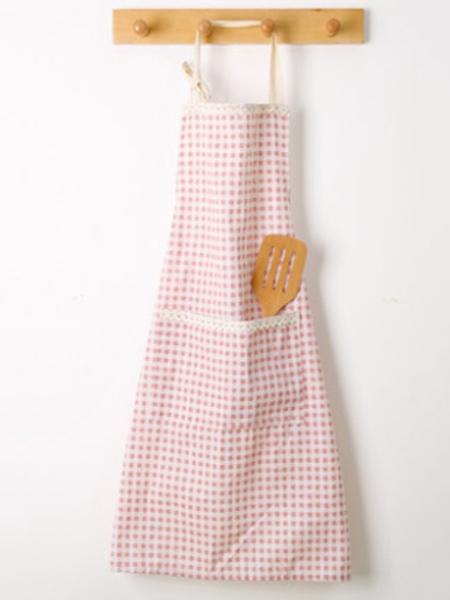 粉色格子围裙