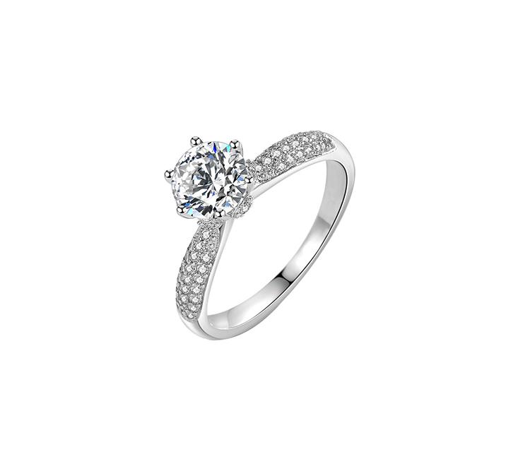 莫桑石六爪銀戒指