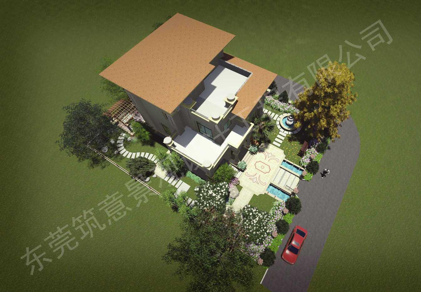 别墅手绘绿植平面图