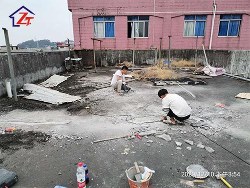 東莞東城石井建樹塑膠實業有限公司辦公室屋面裂縫補漏,工程數量38條