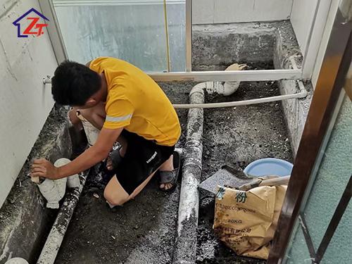 灣畔酒店洗手間補漏工程
