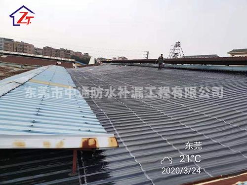 石碣水粒方休闲娱乐会所钢结构屋面整体防水工程