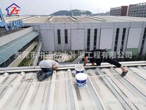 东莞塘厦超汇链条有限公司,钢结构屋面、水槽多处漏水,进行补漏修复