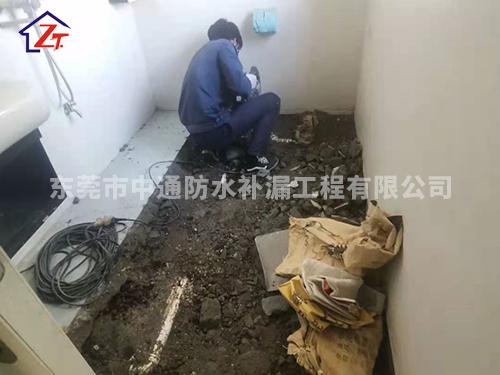 东莞虎门地标大厦C区8栋某号房主卧洗手间渗水到大厅墙体,进行重做防水系统
