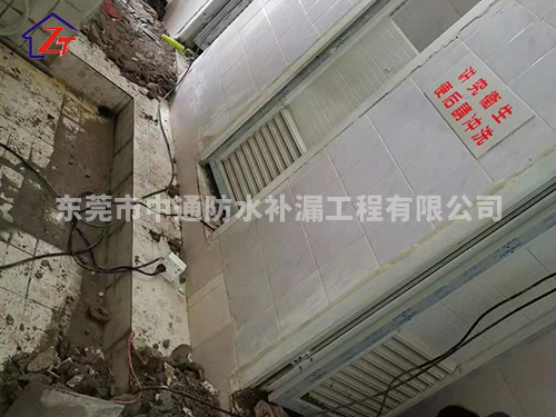 东莞凤岗永胜(东莞)电子公司,宿舍楼女厕漏水至车间补漏施工