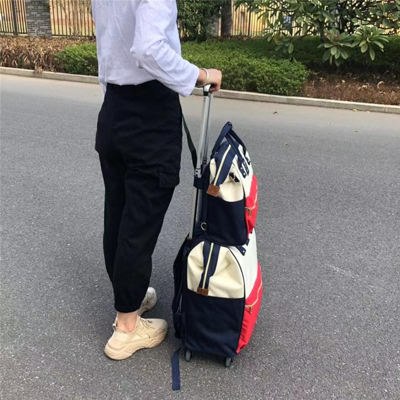 励欣箱包_小型_20寸子母印花拉杆袋厂家供应
