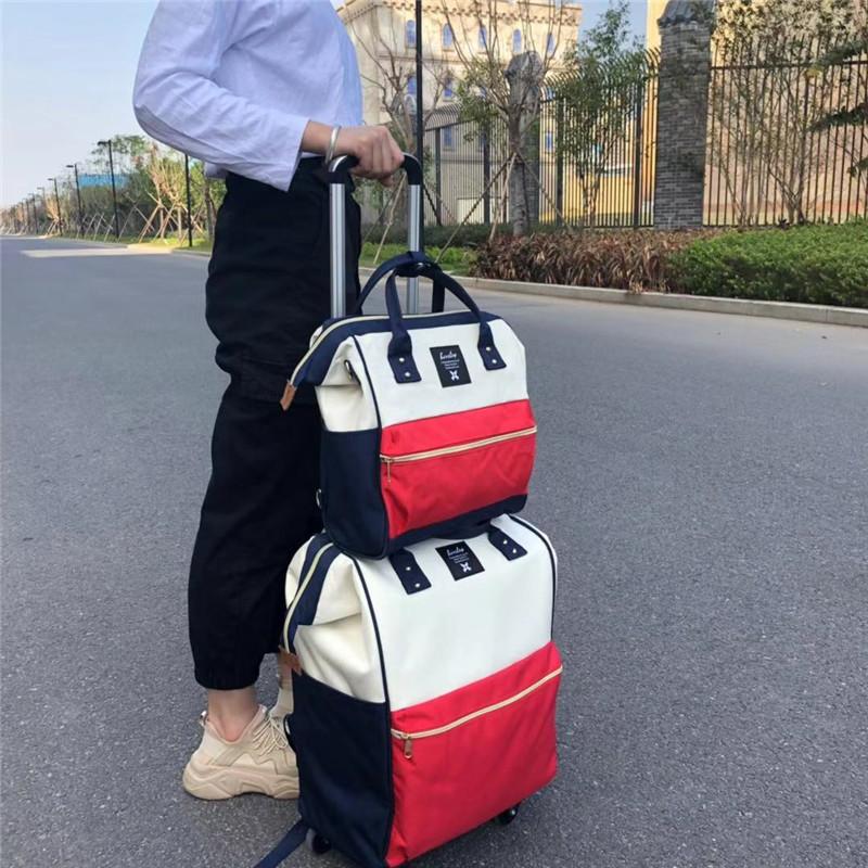 学生印花拉杆袋厂家_励欣箱包_带锁_省空间_短途旅行_出差_时尚