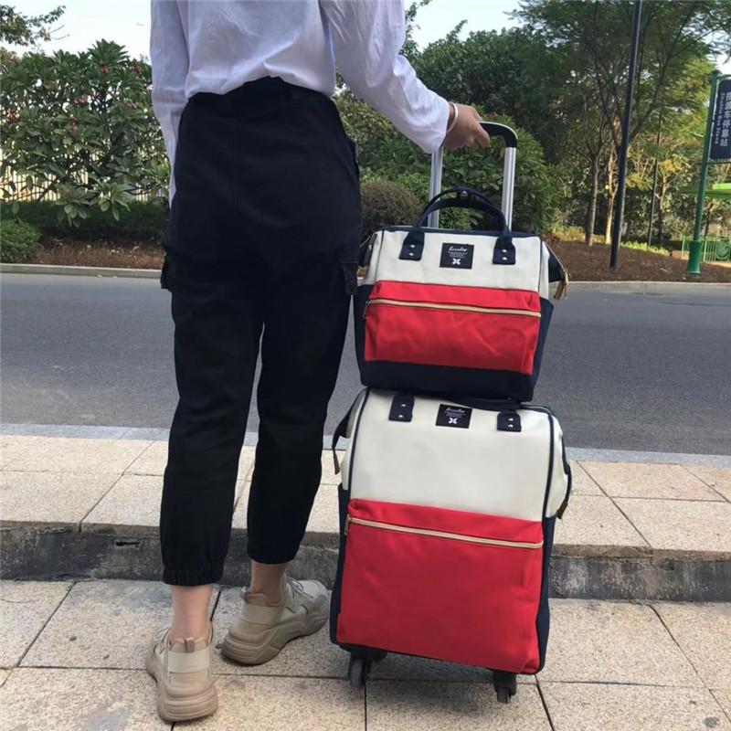 18寸子母印花拉杆袋价格_励欣箱包_18寸_旅行_轻便_出差