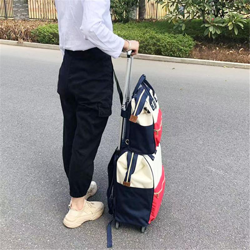 商務_輕便子母印花拉桿袋批發_勵欣箱包