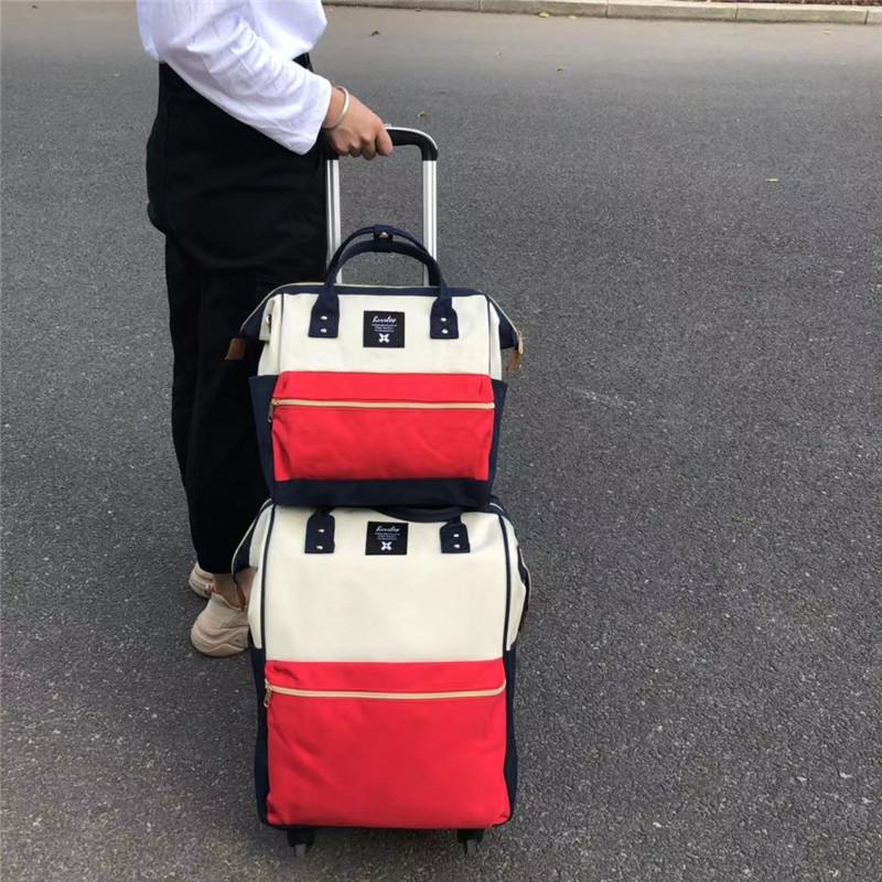 易攜_出差子母印花拉桿袋供應廠家_勵欣箱包
