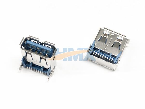 USB-3.0-A母短體SMT魚叉腳連接器