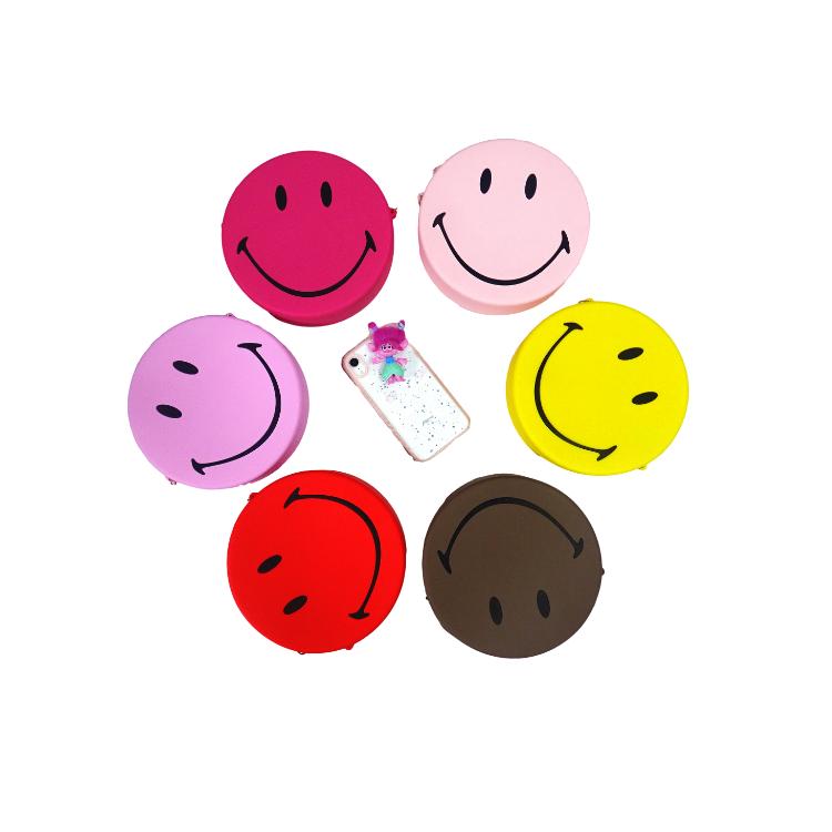 硅胶斜挎包,笑脸手机包,硅胶手机包