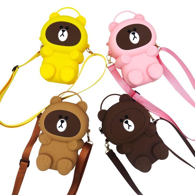 手提小熊包,小熊挎包,硅胶斜挎包