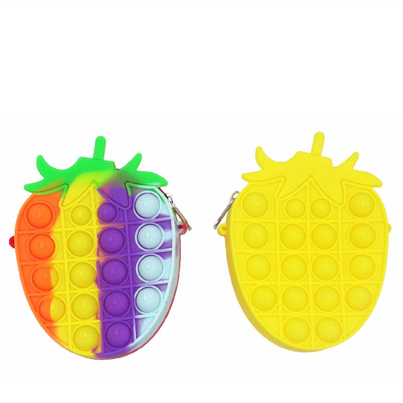 水果系列泡泡草莓零錢包兒童斜挎包