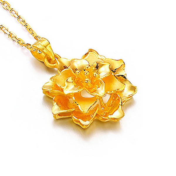 蘭花黃金吊墜
