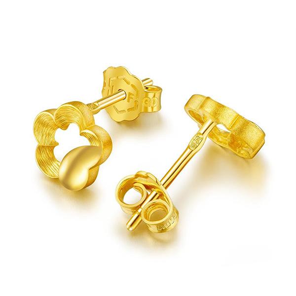 花朵黃金耳釘