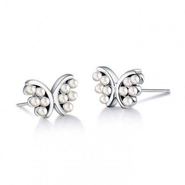 珍珠蝴蝶耳釘