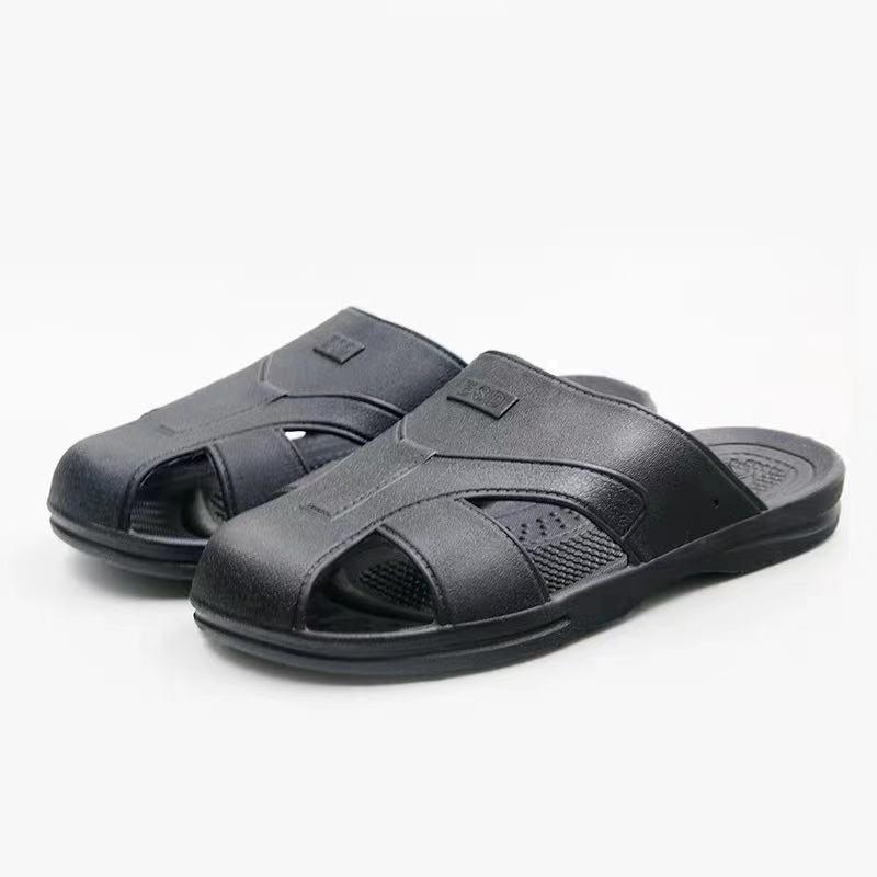包头防静电拖鞋商家_科元防静电_pu_四孔_包头_黑色_白色