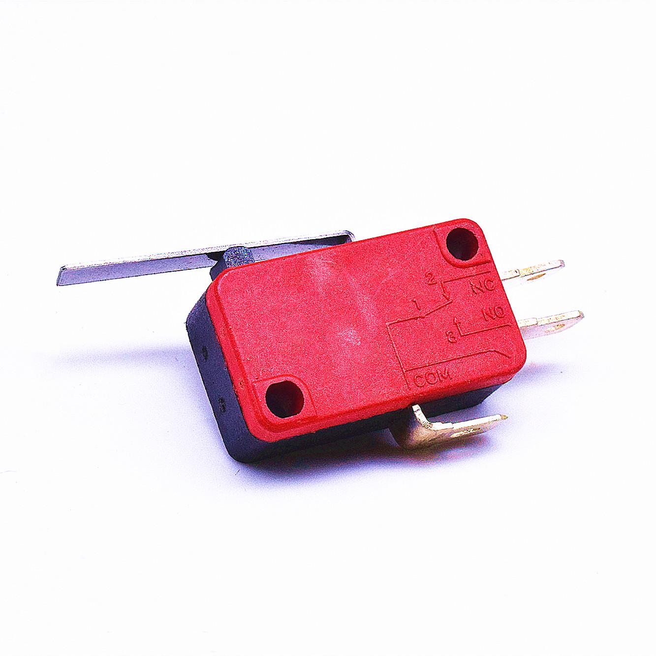 KW3-163-1C2(雙投型4.8H插片)-BR(殼體座黑 蓋紅)-G(黑色按柄)