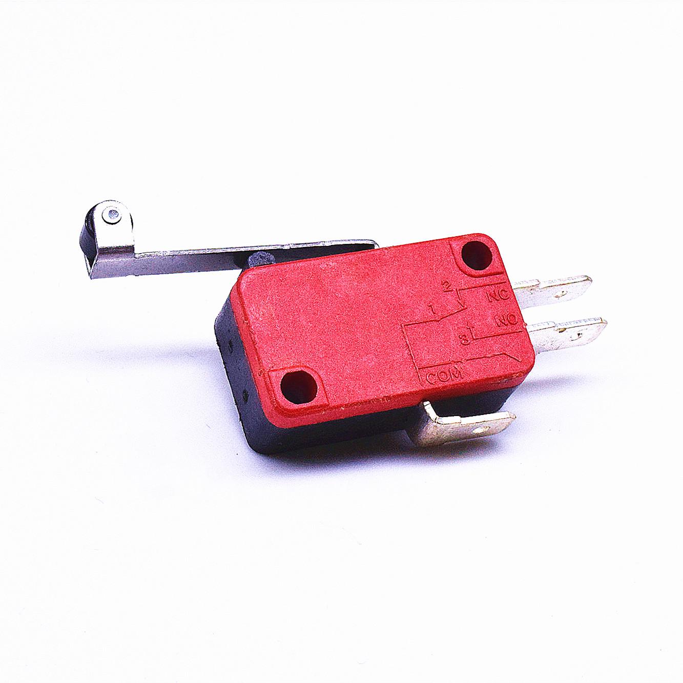 KW3-167-1C2(雙投型4.8H插片)-BR(殼體座黑 蓋紅)-G(黑色按柄)