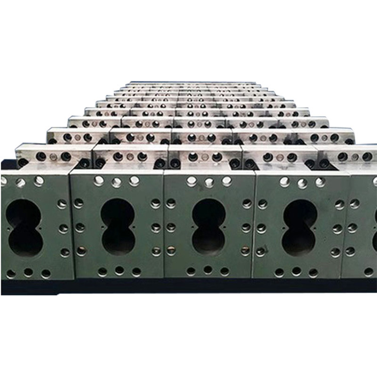 木塑双螺杆挤出机螺套_路隆机械_称重_消泡剂_积木式_路隆塑料机械制造