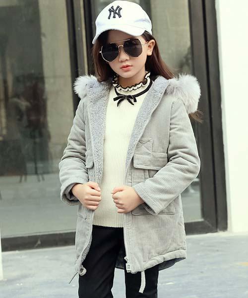 冬装灯芯绒中长款灰色外套