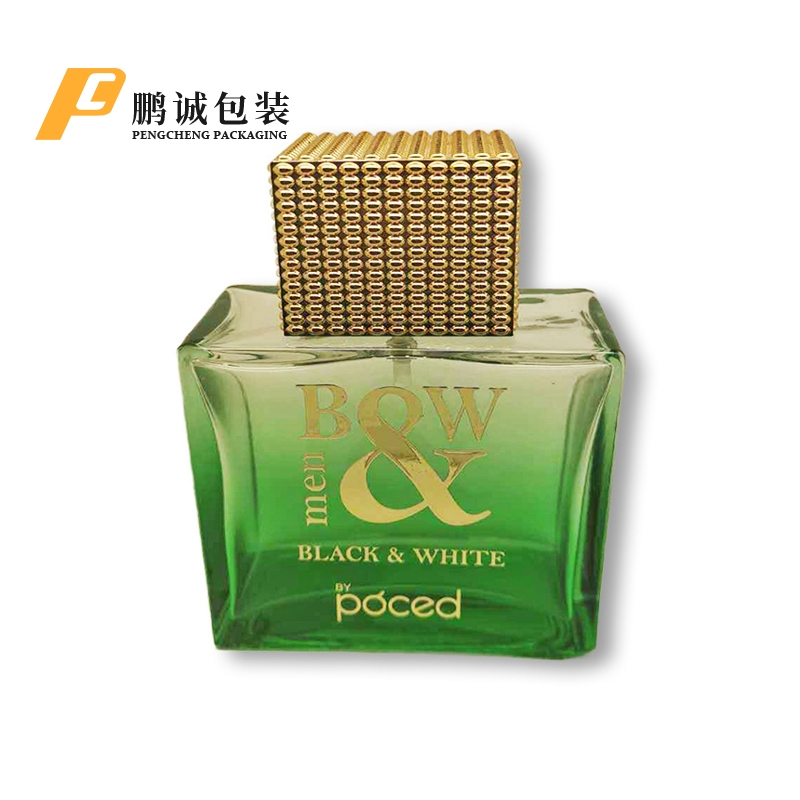 噴透綠色燙金四方香水瓶