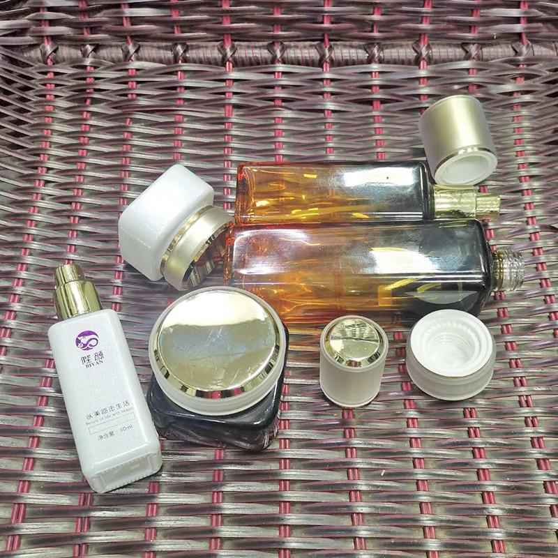 六角化妝品瓶供應生產廠家_鵬誠包材_藍色_亞克力_眼霜_營養液