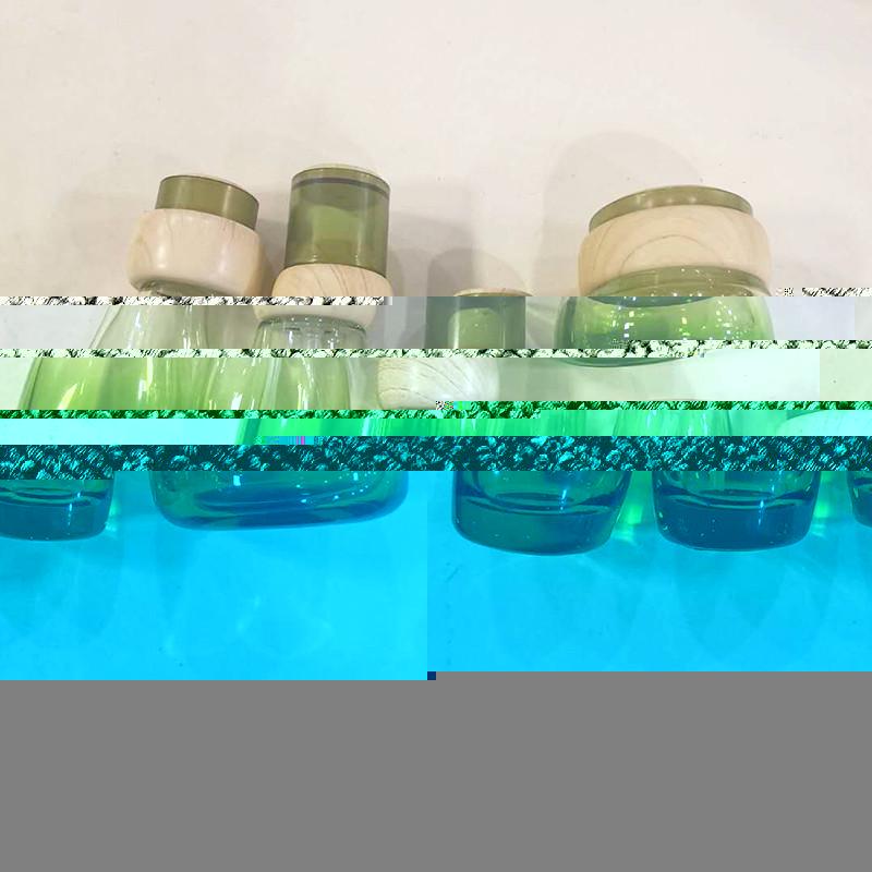 藍色化妝品套裝瓶供應商_鵬誠包材_精華液_多面_玻璃_營養液
