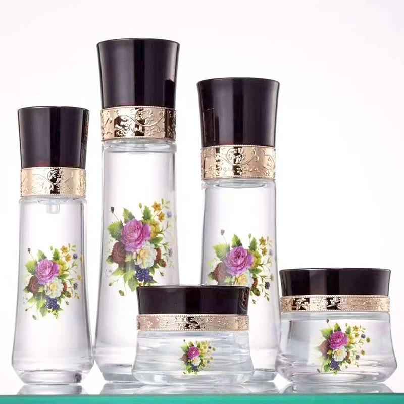 紫色化妝品瓶生產銷售_鵬誠包材_精華液_厚底_面霜_男士_套裝