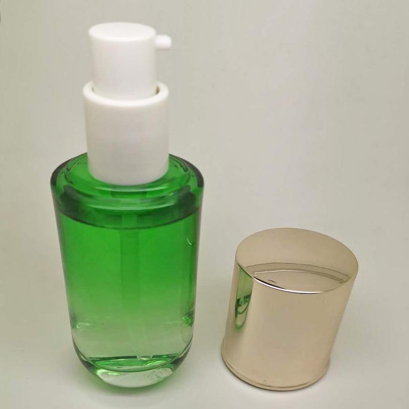 透明精華瓶供應_鵬誠包材_便攜式_套裝_小燈泡_藍色_圓形_玻璃