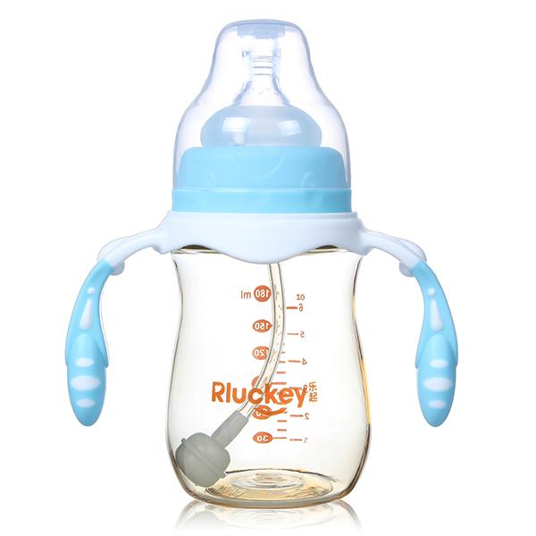 180ML宽口径防滑有耳自动PPSU奶瓶(蓝)