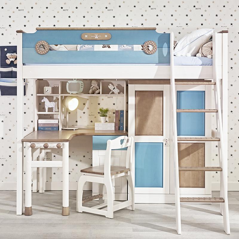 原创设计半高床生产厂家销售_龙辰家居_北欧风_儿童书柜_放心