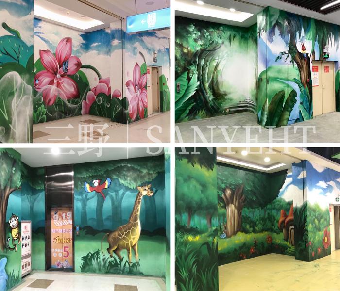 東莞嘉榮超市—怡安百貨商場電梯廳涂鴉