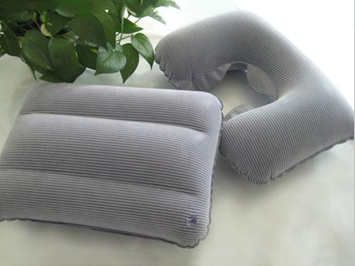 充氣灰色VC植絨枕頭