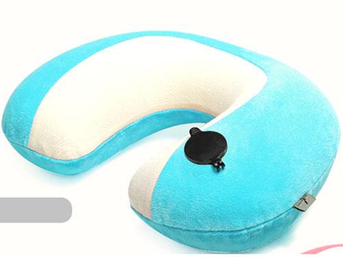 充氣藍白雙色色VC植絨枕頭