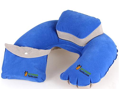 充氣藍色VC植絨枕