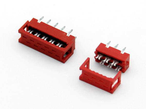 紅色IDC2.54mm二件套 IDC壓排線UL2651焊板式 連接器
