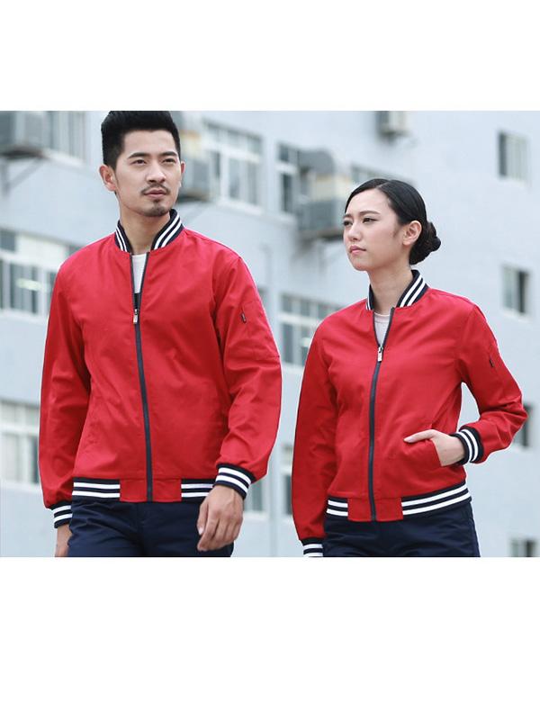 红色螺纹长袖工作服