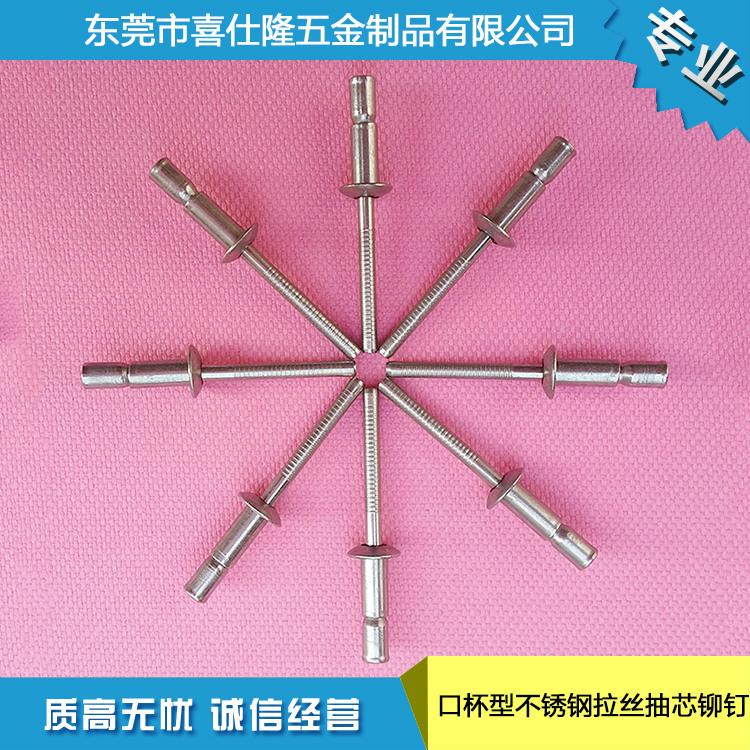 厂家供应沉头铁抽芯铆钉拉铆钉 口杯型不锈钢拉丝抽芯铆钉4.8x10