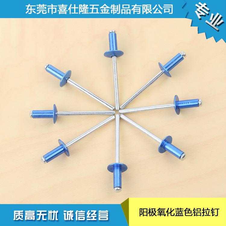 厂家生产阳极氧化蓝色铝拉钉 优质抽芯铆钉 价格优惠 欢迎购买